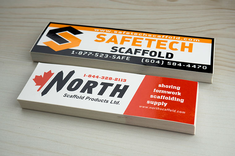 Oem screen printed decals printed in canada by canadastickerking com north scafolding view detail