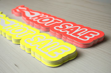 fluorescent decals, screen printed by a Canadian supplier