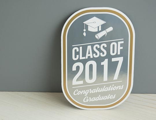 Class of 2017 Sticker. Showing new gold and silver printing capabilities at CanadaStickerKing.com