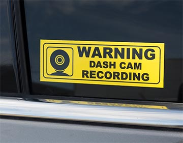 Dash Cam Warning Sticker for Taxi or Uber driver. Made by CanadaStickerKing. Vehicle graphics, printed in Canada