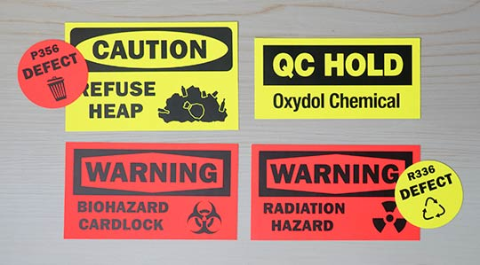 Fluorescent Safety & Hazard Stickers from CanadaStickerKing.com