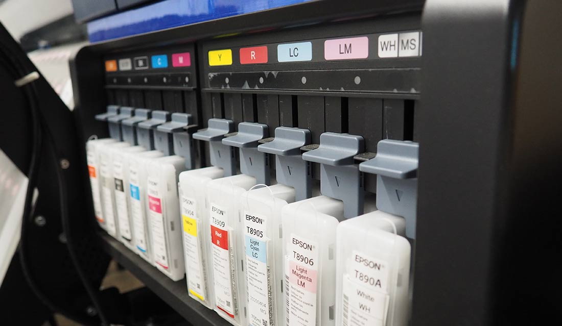 10 Colour Process Printer. Close up of ink cartridges