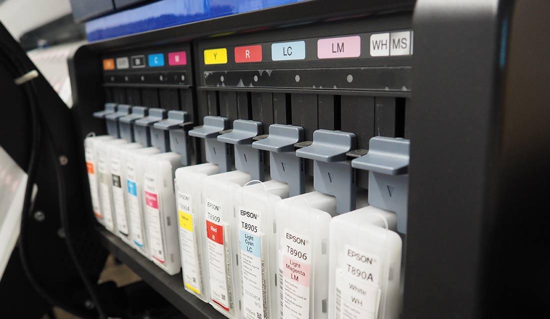 10 Colour Process Printer. Close up of ink cartridges